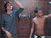 Two twinks take shower and fuck each other asshole for a first time gay sex