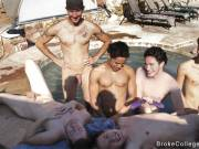 Four young lads jerking cock take a bath and fucking for a first time
