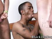 Nasty white twink hard fuck and force to suck muscle black boy interracial gay sex