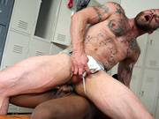 Muscle men with tatto on cheast ride on huge black cock free online video