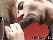 Young white twink boy try interracial gay sex with black muscle guy with huge black cock